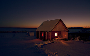 winter, house, nature, night, snow