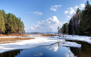 winter, nature, lake, water, pond