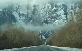 горы, туман, Зима, дымка, лес, снег