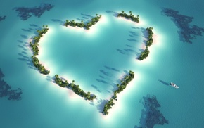 palm trees, love, heart, sea, sky