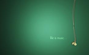headphones, beautiful, green, music, minimalism