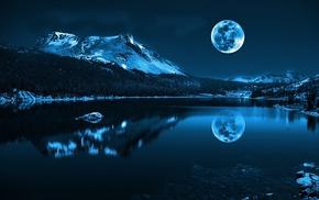 вода, снег, река, горы, луна, море