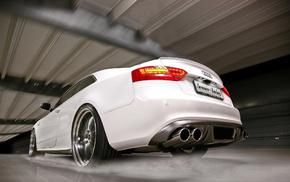 белый, Audi, брызги, автомобили, вода