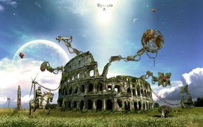 ball, Earth, creative, clouds
