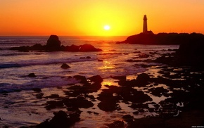 night, nature, fence, landscape, lighthouse