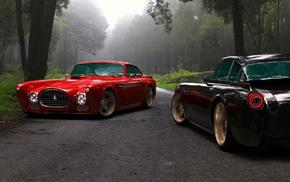 forest, road, Ferrari, cars