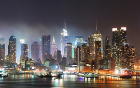 cities, houses, New York City, city, lights