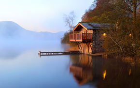autumn, berth, mist, nature, lake