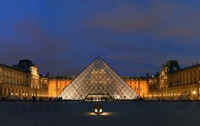 Лувр, города, пирамида, париж