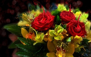 style, light, bouquet, paints, roses