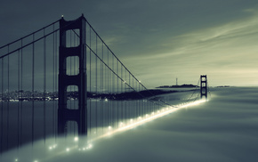 bridge, city, cities, clouds, mist