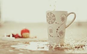 splash, delicious, snowflakes, cup, drops