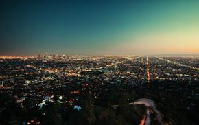 evening, sunset, lights, cities, city