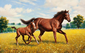animals, painting, grassland, horse