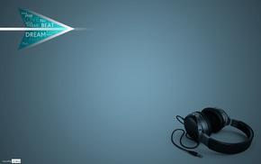 music, blue background, headphones, minimalism