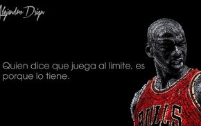 typographic portraits, black background, basketball, Chicago Bulls, Michael Jordan, quote