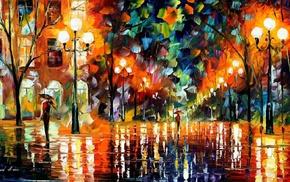colorful, umbrella, Leonid Afremov, street, painting