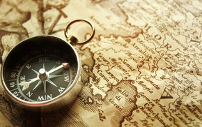 old, vintage, map, drawing, compass
