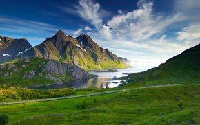 river, sky, mountain, nature