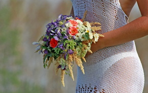 dress, bouquet, girl, stunner