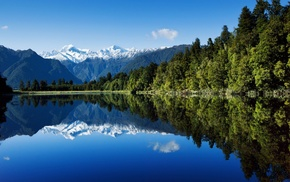 lake, forest, mountain, nature, landscape