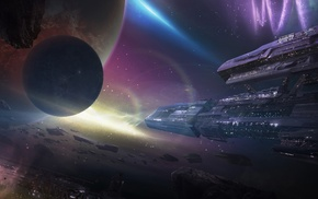space, art, planets, ships