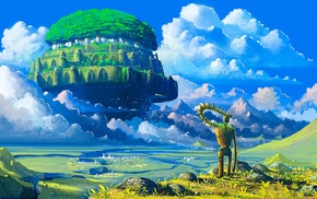 anime, Castle in the Sky, robot, Studio Ghibli, floating island