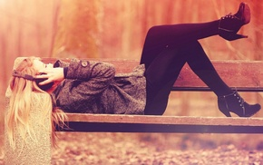 fall, jacket, leggings, headphones, heels, colorized photos