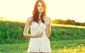 girl, white dress, girl outdoors, redhead, Susan Coffey