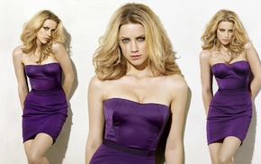 purple, cleavage, simple background, Amber Heard, dress, eyes