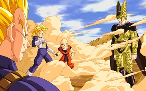 Trunks character, anime, Dragon Ball, Krillin, Super Saiyan, Vegeta