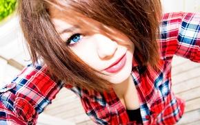 closeup, blue eyes, cleavage, brunette, girl