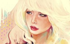 аниме, произведение искусства, блондинка, девушка, веснушки