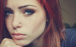 девушка, пирсинг, лицо, рыжие, голубые глаза