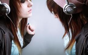 girl, emo, brunette, headphones