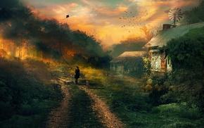 деревья, собака, путь, солнечный свет, произведение искусства