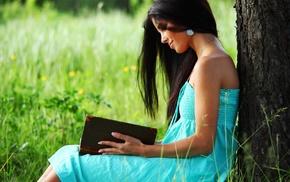 girl outdoors, books, brunette, girl, dark hair