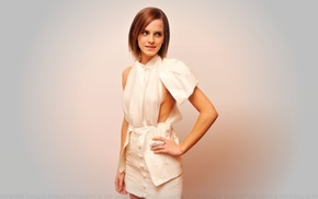 girl, actress, brunette, short hair, white background, Emma Watson
