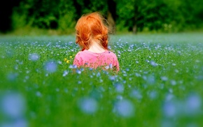 children, girlie, nature, red hair, child