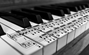 music, black and white, piano