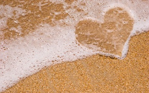 beach, foam, sea, heart, love