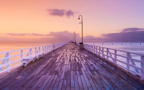 nature, Australia, pier, ocean, evening