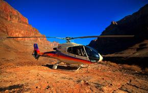 canyon, aircraft, helicopter, sky, mountain