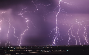 cities, city, lightning, view, night