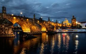 bridge, city, night, lights, cities
