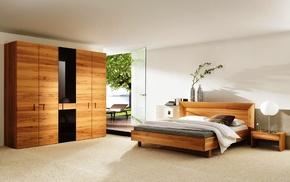 room, bed, design, interior