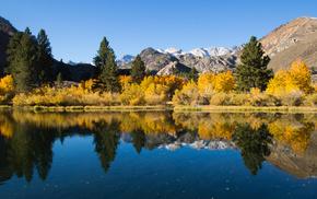 lake, nature, autumn, reflection