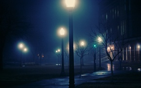 cities, night, lights, mist, city