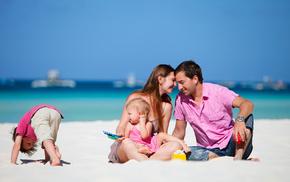 boy, children, sand, beach, sea