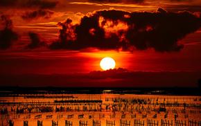 море, закат, солнце, природа, столбики, забор